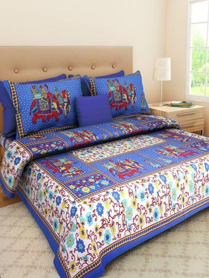Dreamy Zone Red Cotton Double Bedsheet with Pillow Cover