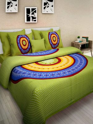 Dreamy Zone Green Cotton Double Bedsheet with Pillow Cover