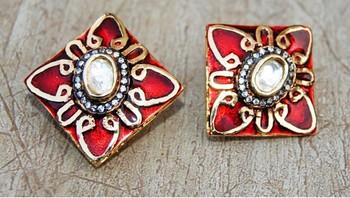 Uncut Diamond Studded Gold Red Enamel Stud Earrings