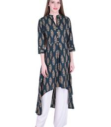 Dark-green printed cotton kurti