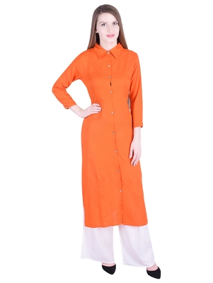 Orange plain cotton kurti