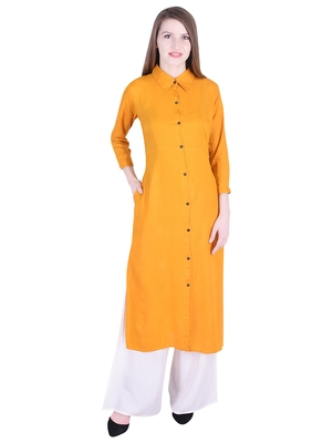 Yellow plain cotton kurti