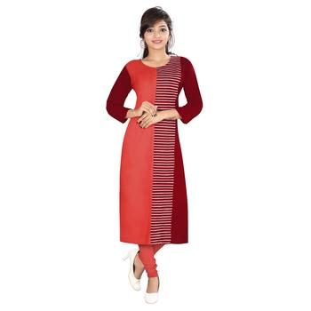 Red printed rayon kurti