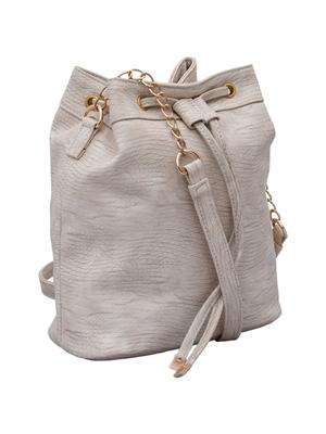 Lychee Bags Women's Cream PU Sling Bag