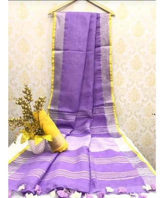 Purple Linen Saree With Zari Border And With Blouse
