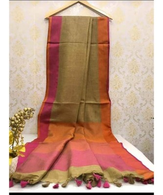 Dark Beige Linen Saree With Zari Border And With Blouse