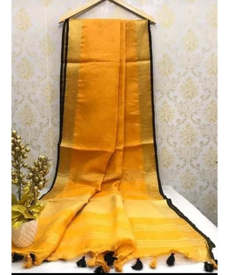 Orange Linen saree with zari border and with blouse