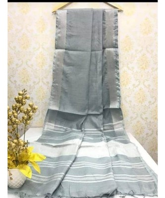 Light Grey Linen saree with zari border and with blouse