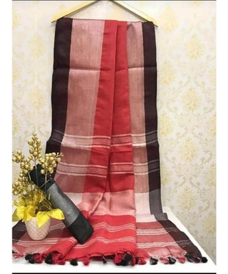 Maroon Linen Saree With Zari Border And With Blouse