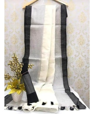 White Linen Saree With Zari Border And With Blouse