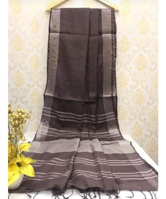 Charcoal Linen Saree With Zari Border And With Blouse