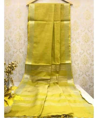 Mustard yellow Linen saree with zari border and with blouse
