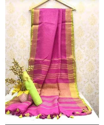 Pink Linen saree with zari border and with blouse