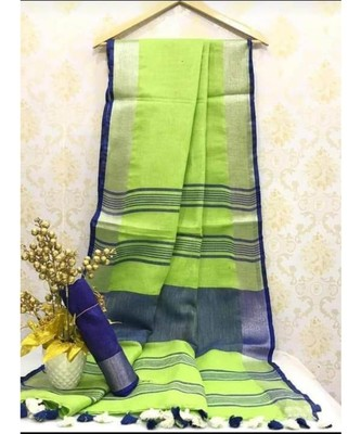 Light Green Linen saree with zari border and with blouse
