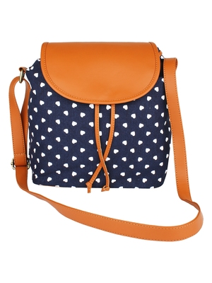 Lychee Bags Women's Blue Canvas Sling Bag
