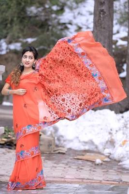 Rust Brown Kashmiri Aari Work Saree Enriched With Floral Paisley Pattern