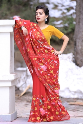 Ravishing Red Color Kashmiri Aari Work Embroidered Saree Enriched With Floral Paisley Pattern