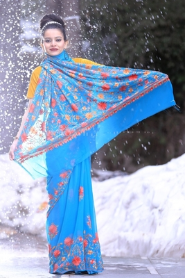 Blue Color Kashmiri Work Embroidered Saree Enriched With Running Jaal Pattern