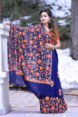 Navy Blue Color Kashmiri Aari Work Embroidered Saree Enriched With Floral Paisley