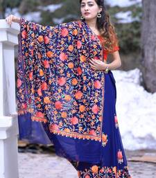 1665 navy blue color kashmiri aari work embroidered saree enriched with floral paisley 1491807050 small