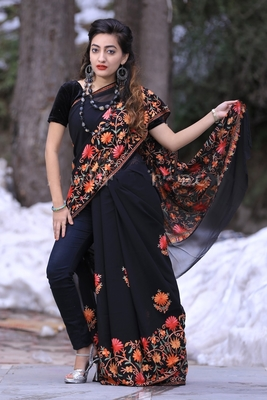 Smoothy Black Colour Kashmiri Saree With Amazing New Design