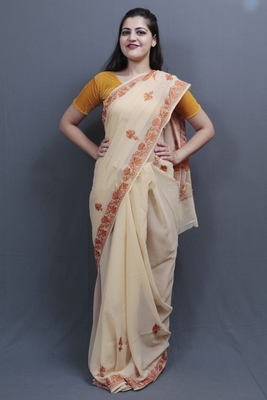 Fawn Colour Kashida Work Saree With Wonderful Designing On Border And Bail Pattern On Pallu.