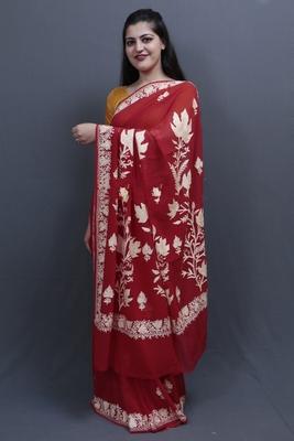Red Colour Kashida Work Saree With Wonderful Designing On Border And Bail Pattern On Pallu.