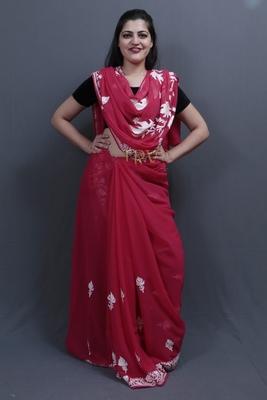 Majenta Colour Kashida Work Saree With Wonderful Designing On Border And Bail Pattern On Pallu.