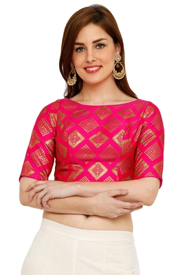 Pink Banglori Brocade Silk Readymade Padded Blouse