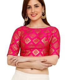 Pink Banglori Brocade Silk Readymade Padded Blouse