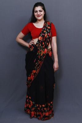Evergreen Black Colour Saree With Dense Aari Jaal On Pallu And Flowral Motifs.