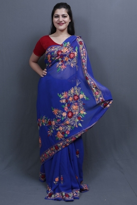 Royal Blue Colour Saree With Aari Work Border And Bold Paisleys Make The Saree Unique And Attractive