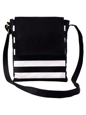 Lychee Bags Women's Black Canvas Sling Bag