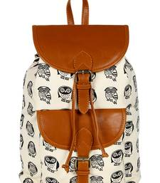 Lychee Bags Women's Cream, Tan Canvas Kacy Backpack