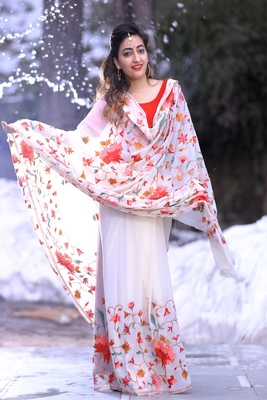 White Color Kashmiri Work Embroidered Saree Enriched With Running Jaal Pattern