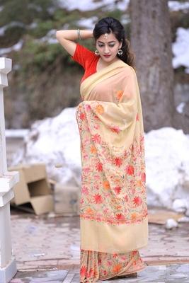 Superior Beige Colour Kashmiri Saree With Multi Colour Embroidery