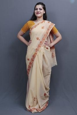 Fawn Colour Kashida Work Saree With Wonderful Designing On Border And Bail Pattern On Pallu