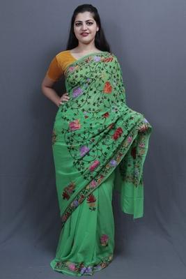 Green Colour Kashida Work Saree With Wonderful Designing On Border And Chinaar Jaal On Pallu