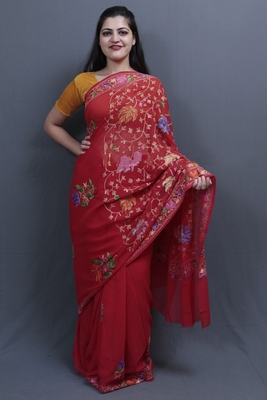 Red Colour Kashida Work Saree With Wonderful Designing On Border And Chinaar Jaal On Pallu