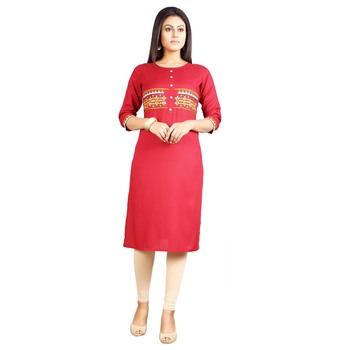 Red embroidered rayon kurti
