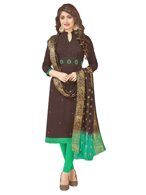 Brown multi work cotton salwar with dupatta