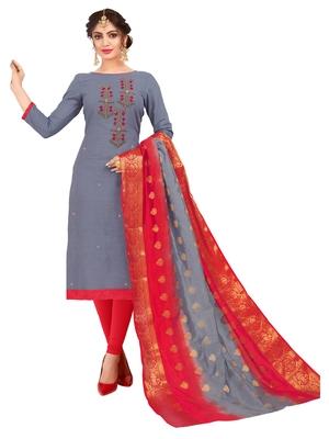 Grey Multi Work Cotton Salwar With Dupatta