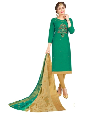 Green Multi Work Cotton Salwar With Dupatta
