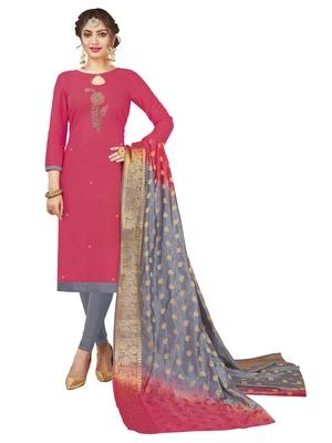 Pink multi work cotton salwar with dupatta
