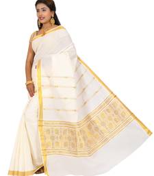 Off White Plain Cotton Poly Saree With Blouse