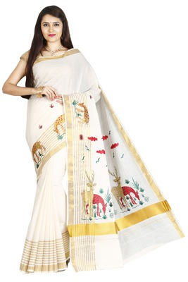 Off White Embroidered Cotton Poly Saree With Blouse