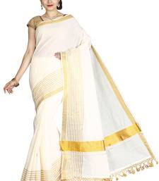 Off white plain cotton poly saree with blouse