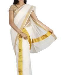Off white plain cotton poly saree