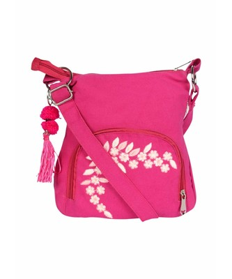 Fuschia Small Sling Bag with embroidery on pocket