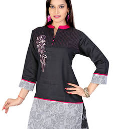 Buy Black and off white  machine work remi linen and chanderi tunic kurtas-and-kurtis online